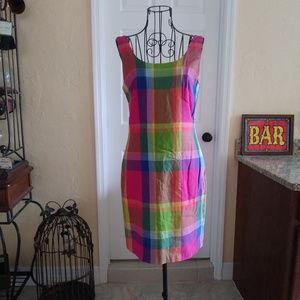 Vintage Misty Lane Rainbow Plaid Sheath Dress